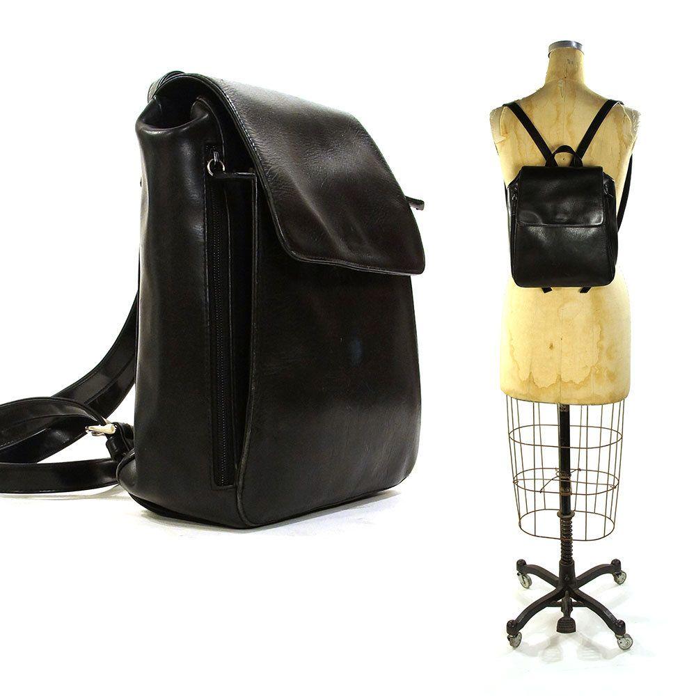 ce3d8a7ecc2a Black Leather Backpack   Vintage 1990s Nine West Leather Backpack with  Organizer Pockets   Classic Grunge Boho Rocker Hipster Purse by SpunkVintage