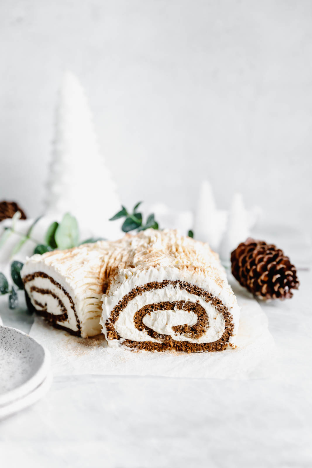 This festive White Chocolate Gingerbread Yule Log is a