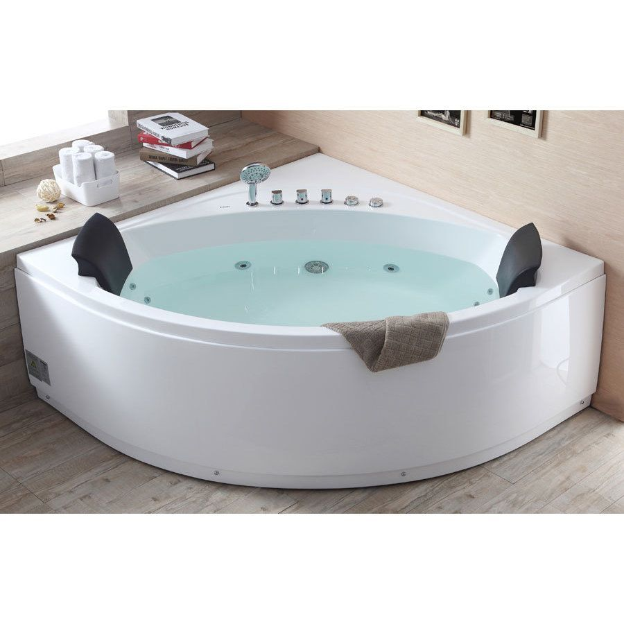 Eago AM200 5-foot Rounded Modern Double-seat Corner Whirlpool ...