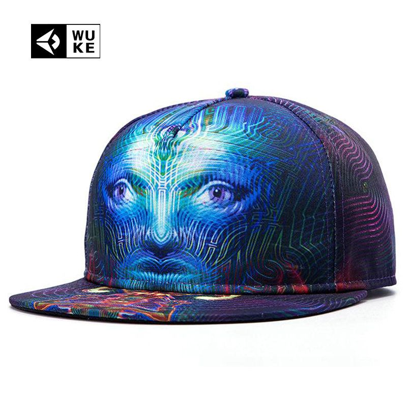 af22b3e5bcf  WUKE  Branded Hip Hop Cap For Men Women Bone Baseball Cap 3D Printed Face