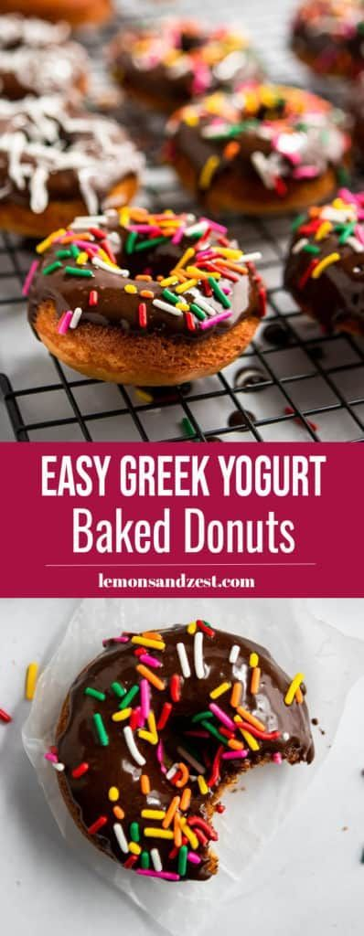 Whole Wheat Greek Yogurt Baked Donuts. Baked Whole Wheat donuts with a rich chocolate glaze, Greek Yogurt and your favorite donut toppings! Breakfast fun for everyone! #donuts #breakfast #chocolateWhole #Wheat #Greek #Yogurt #Baked #Donuts. #Baked #Whole #Wheat #donuts #with #a #rich #chocolate #glaze, #Greek #Yogurt #and #your #favorite #donut #toppings! #Breakfast #fun #for #everyone! ##donuts ##breakfast ##chocolate #wheat