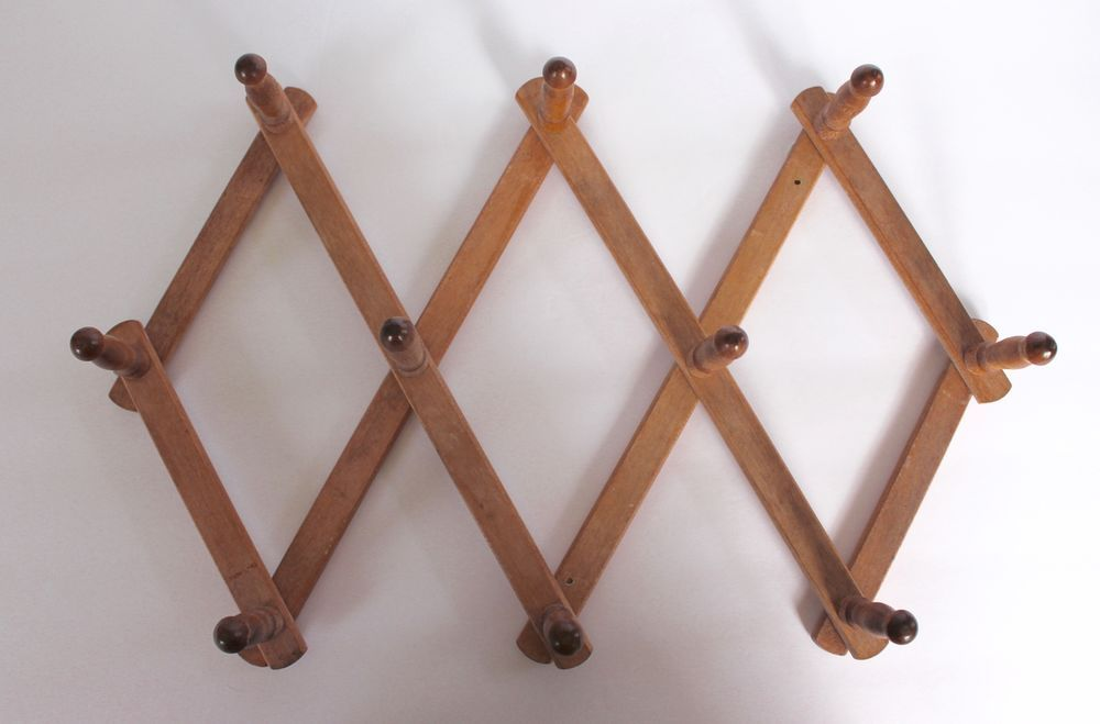 Vintage Wood Accordion Rack 10 Pegs Expandable Wall Coat Mug Wooden Nevco Japan Nerco Peg Wall Wooden Clothes Rack Clothing Rack