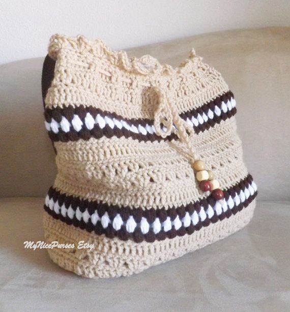 Crochet tan over sized shoulder bag crochet tan by MyNicePurses, $65.00