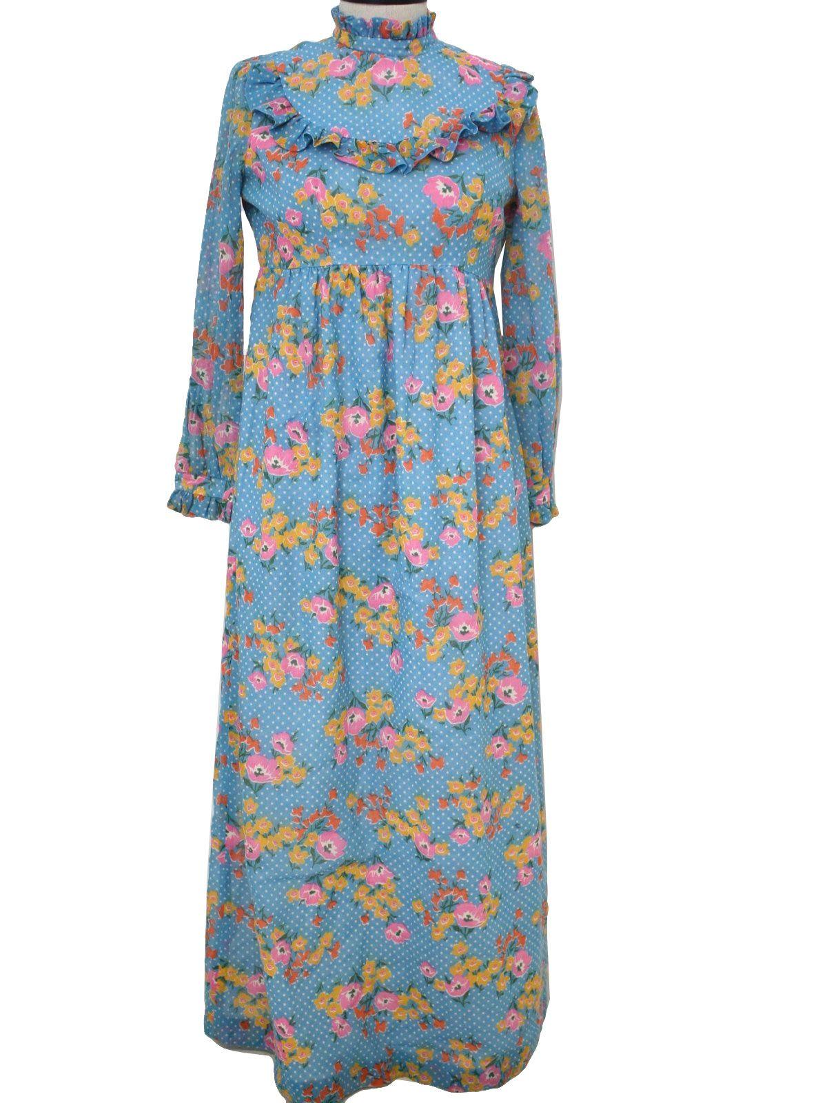 1970\'s Lexis Ltd. Hippie Prairie Maxi Dress | Nostalgia