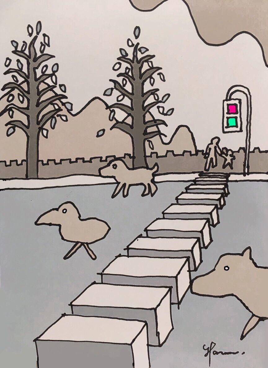 横断歩道空想風景ペン画byハルナユウキ Yuuki Haruna イラスト