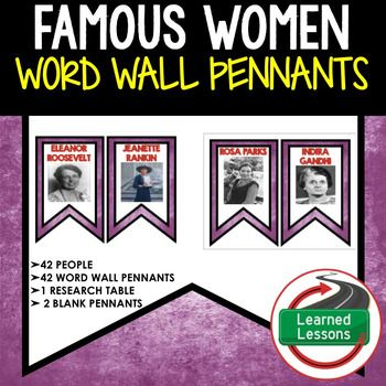 Photo of Famous Women in History Word Wall (Women's History Month) 42 Word Wall Pennants