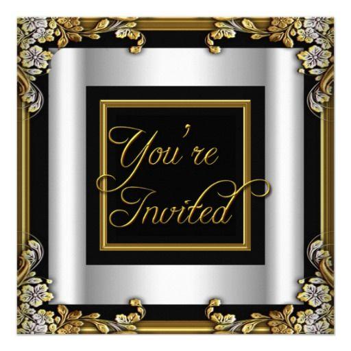 Elegant Silver Black Gold Birthday Party Custom Invitations by Zizzago.com