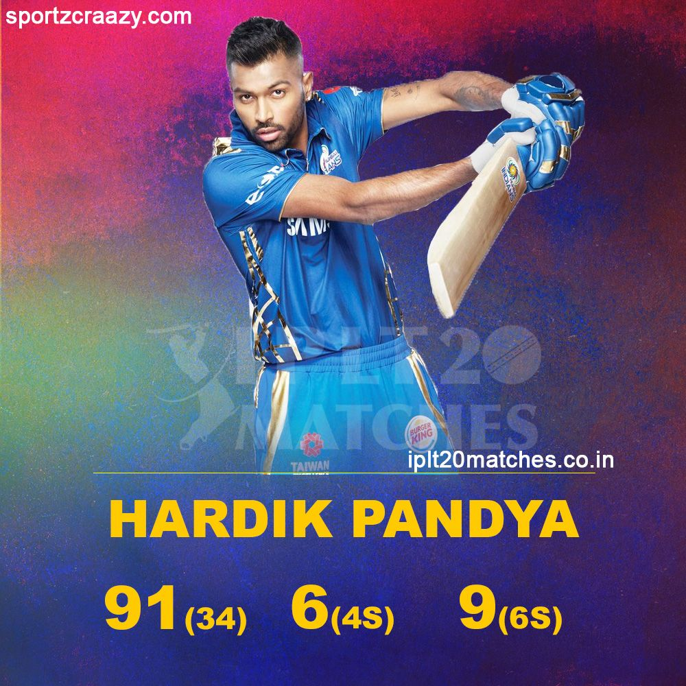 What An Innings This By Hardik Pandya Departs After A Brilliant 91 Royal Challengers Bangalore Chennai Super Kings I Pl