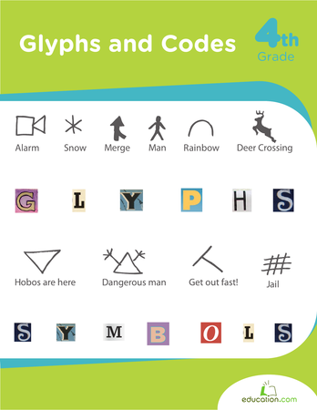 Glyphs and Codes | Printable Workbook | Education.com - for Arthur (not free but I have a subscription).