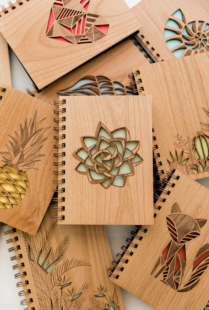 Succulent Wood Journal [Notebook, Sketchbook, Spiral Bound, Blank Pages, Gifts for Her, Valentine's Day]