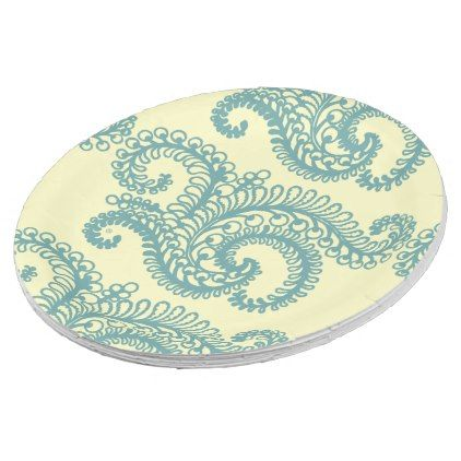 #Blue u0026 Yellow Decor -Paisley Paper Plates - #elegant #gifts #stylish #giftideas #custom  sc 1 st  Pinterest & Blue u0026 Yellow Decor -Paisley Paper Plates | Pinterest