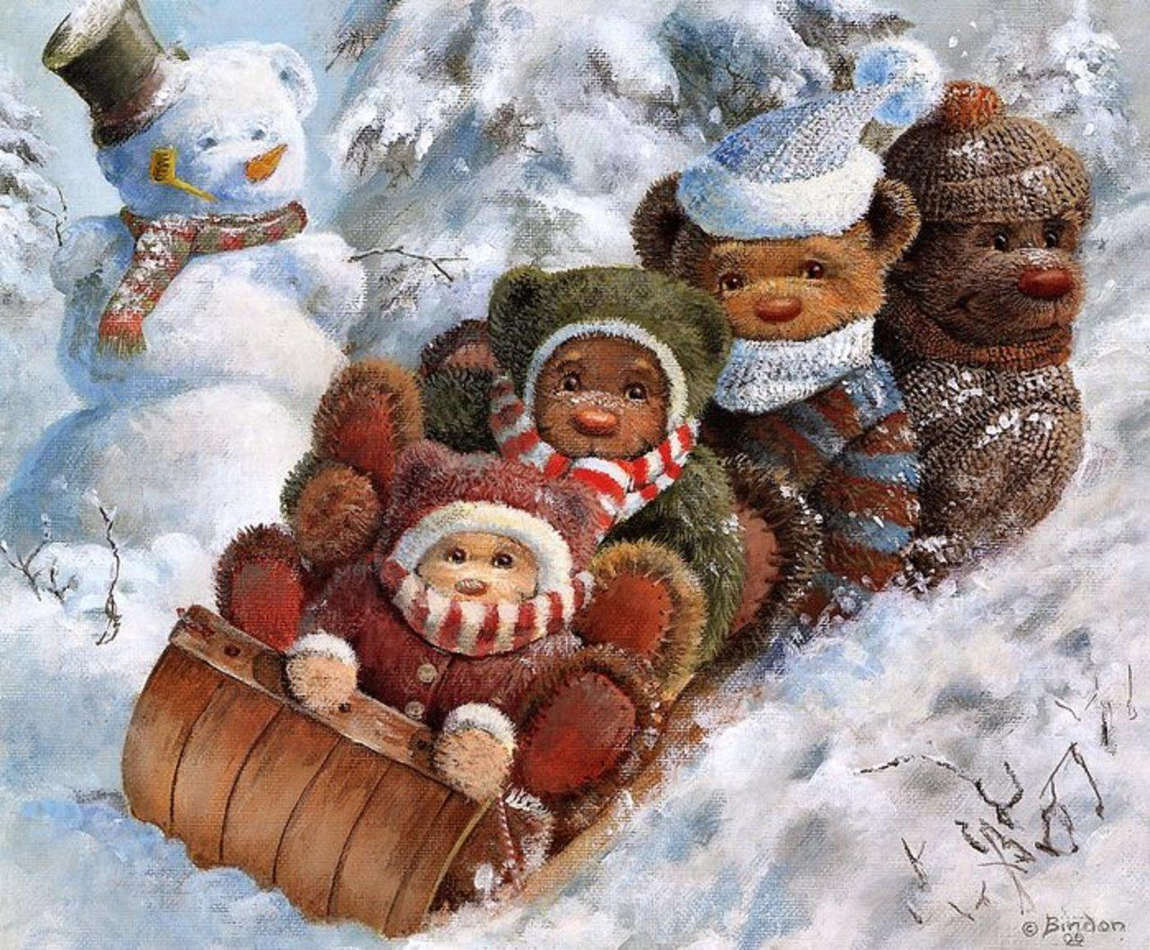 Ретро открытки к дню рождения зимние