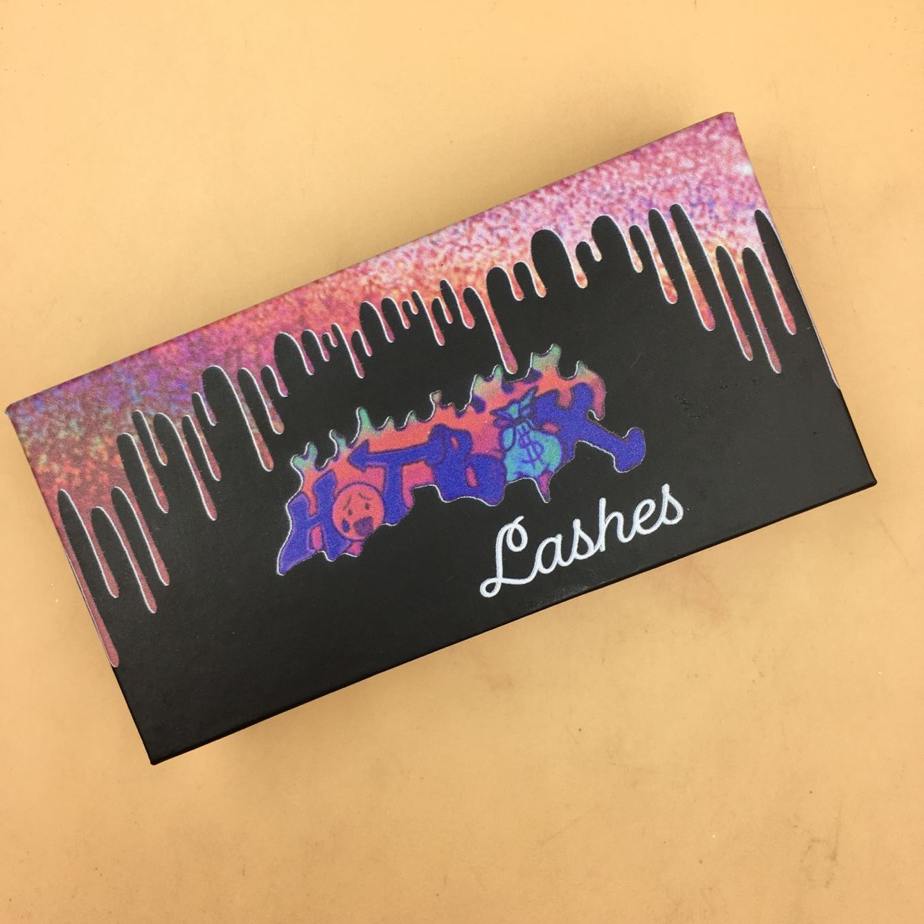 Wholesale Custom Eyelash Packaging Pink Dripping Box in