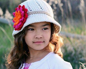 CROCHET PATTERN - Summer Romance - crochet hat pattern sun hat crochet pattern cloche hat pattern (Baby - Adult sizes) Instant PDF Download