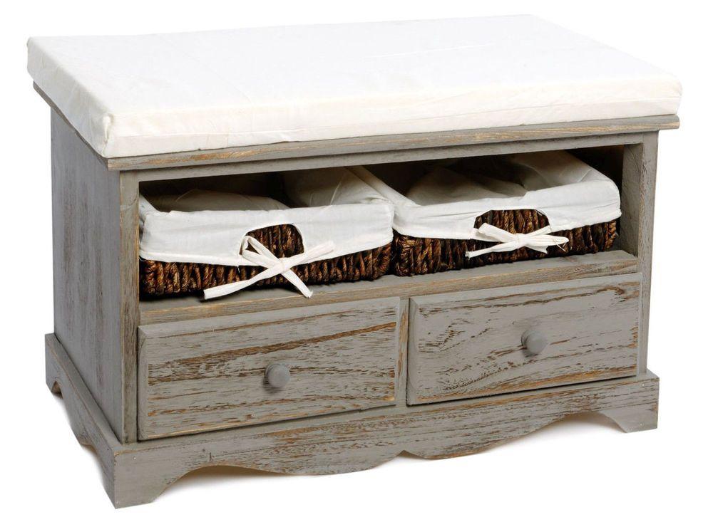 Grey Shabby Chic Storage Bench Seat Two Drawers Two Baskets Shoe Storage  Hallway | EBay