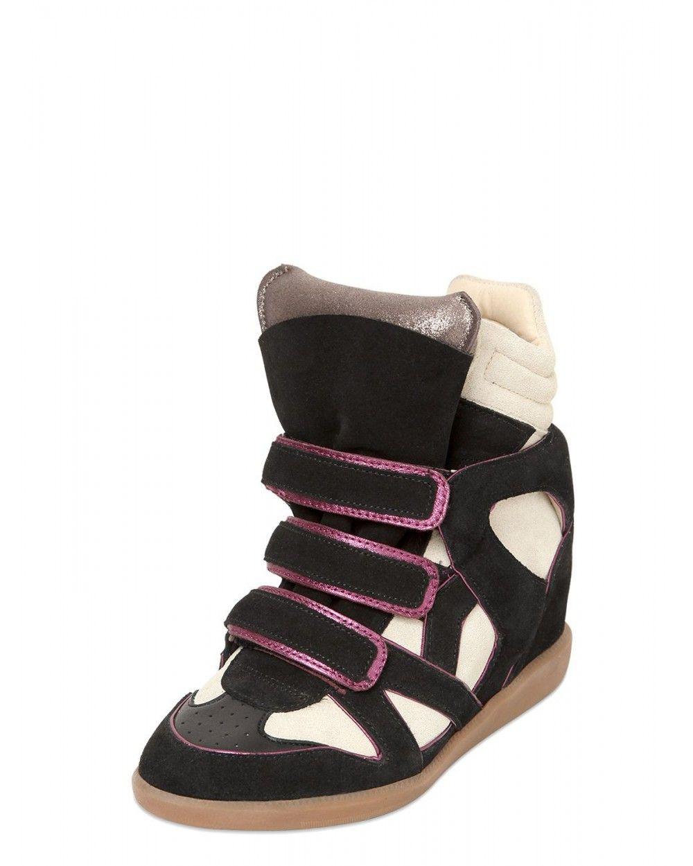 Isabel Marant Etoile Wila Suede Wedge Sneakers Black And White - Isabel  Marant #ISABELMARANT #