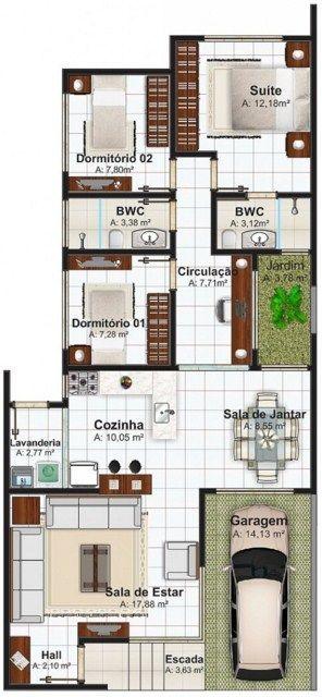 plano de casa moderna construida en planta con dormitorios