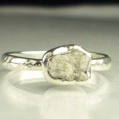 natural rough diamond engagement ring by artifactum on etsy