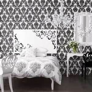 Black and White Vintage Wallpaper Bedroom | Just Black and ...
