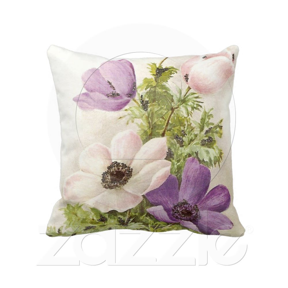 Vintage Anemone Throw Pillow Zazzle Com Throw Pillows Pillows Floral Floral Pillows