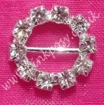 Small 16mm Round Circle Diamante Buckle Ribbon Slide. Lovely on Wedding Stationary and gifts for that added touch.