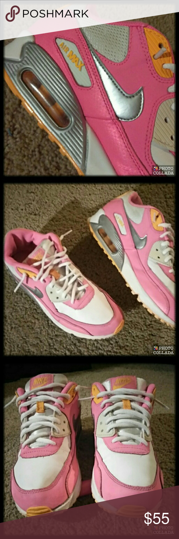 500fc440bef7 🍡Rare Sherbet Nike Air Max 🍡 Size  7Y White and Pink with Orange and  Silver accents   345017-120 Excellent condition Minor signs of wear but  overall ...