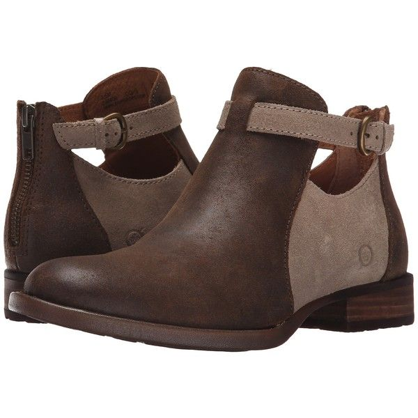 Born Posh (Crusca Waxed Suede) Women's Shoes (4.980 RUB) ❤ liked on Polyvore featuring shoes, boots, ankle booties, brown, short heel booties, born booties, short brown boots, short boots and stretch ankle boots