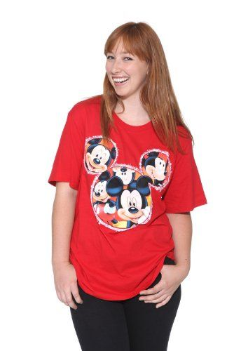59b03fc01c6bb Amazon.com  Disney Mickey Mouse Red T-Shirt Glitter Plus Size  Clothing
