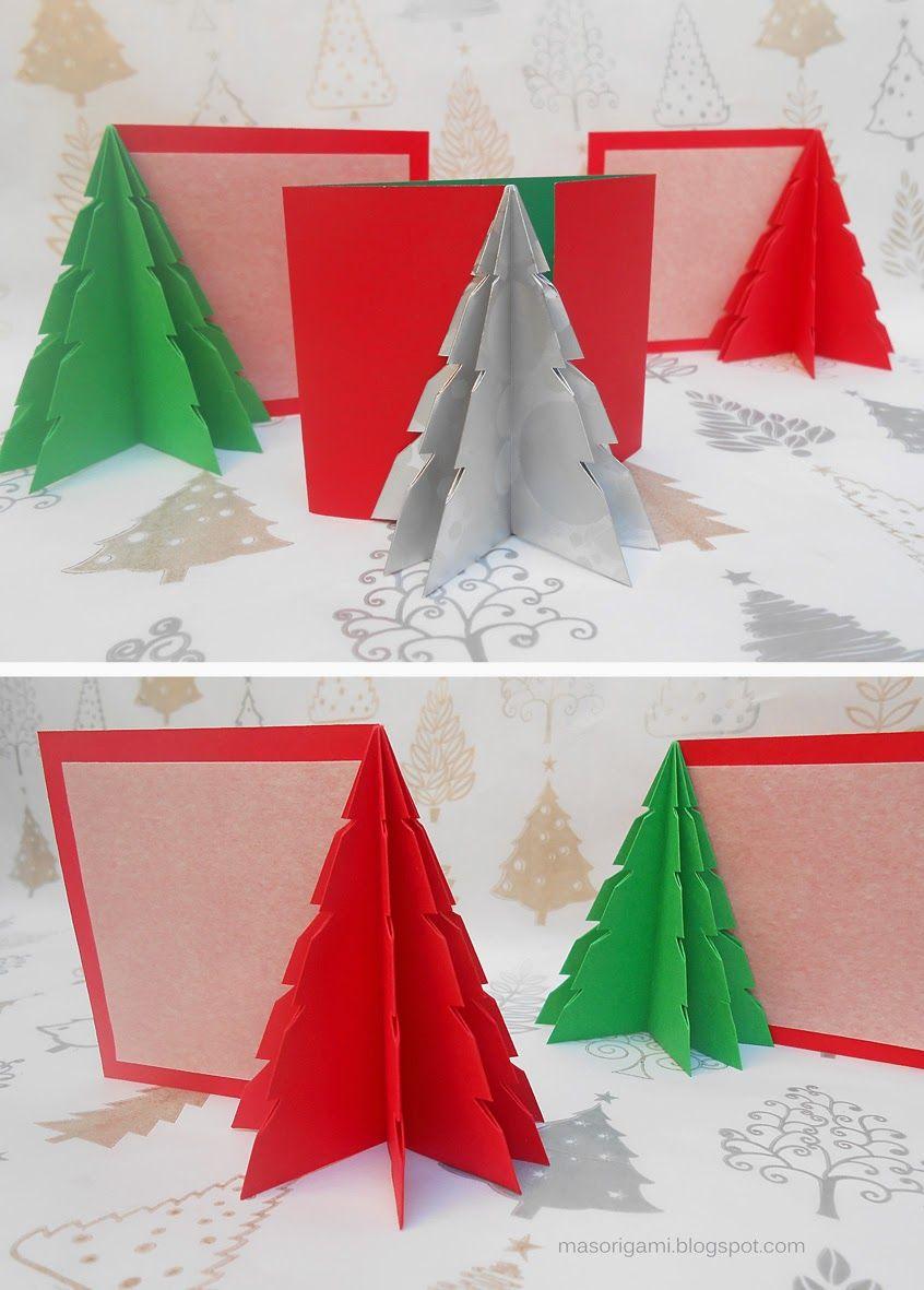 Origami tarjetas de navidad plegadas con papel con - Postales navidenas creativas ...