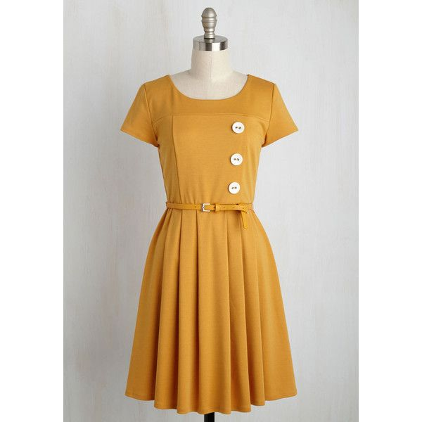 Vintage Inspired Mid-length Short Sleeves A-line Happy Hosting A-Line... ($60) ❤ liked on Polyvore featuring dresses, apparel, fashion dress, yellow, a line dress, yellow party dress, going out dresses, brown knit dress and vintage style dresses