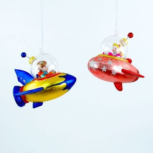 KIDS IN SPACESHIPS ROCKETS Boy and Girl Christmas Ornaments Set of 2 Space Age 180