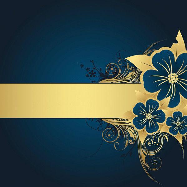 Blue Gold Flower Flourish Background 12 X 12 Paper Polyvore