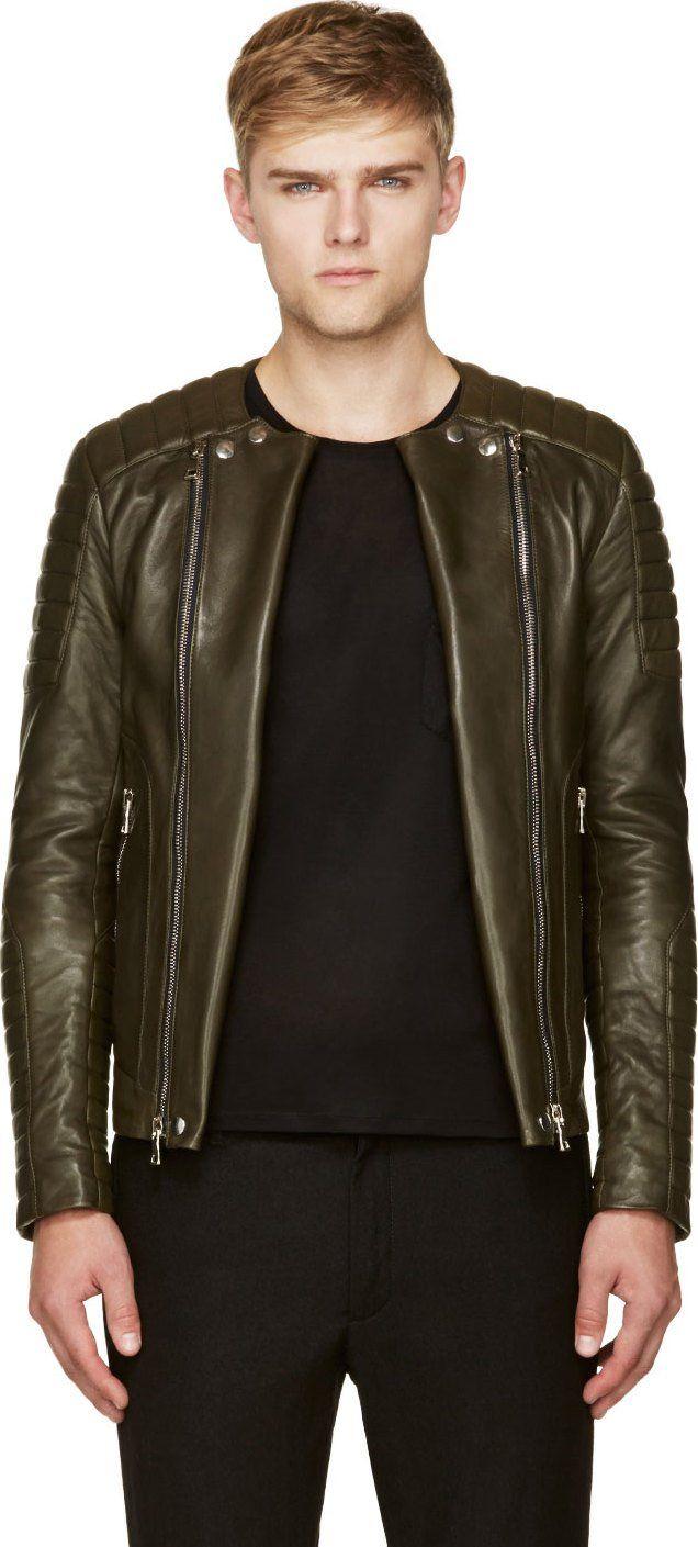 Balmain Olive Green Leather Classic Biker Jacket Balmain Leather Jacket Leather Jacket Men Online Mens Clothing [ 1409 x 636 Pixel ]