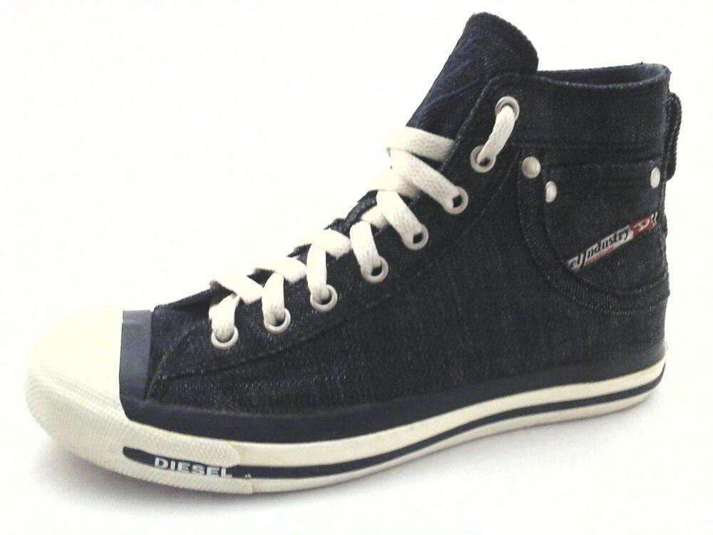 f215cd0ce24100 DIESEL Shoes Magnete Exposure Blue Denim Canvas High Top Womens 8.5 39  230  RARE  Diesel  WalkingShoes