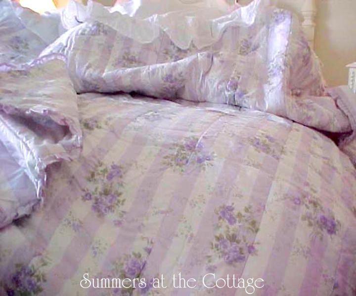 5 Pc Rachel Ashwell Shabby Chic Lavender Cabana Stripe Ruffles