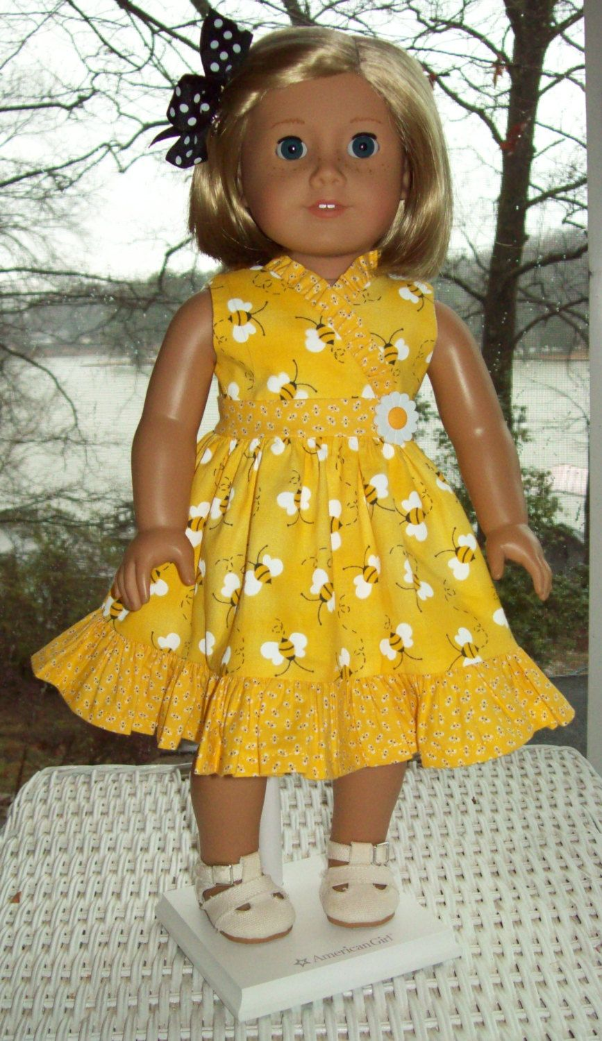 Doll Dress and hair clip for 18 inch doll or American Girl doll.  Honeybee ruffled dress. by ASewSewShop on Etsy