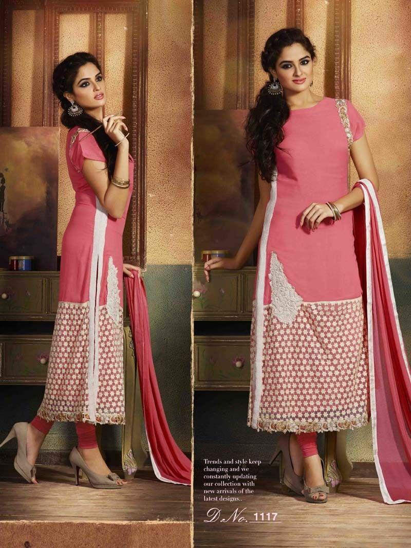 Pink designer straight salwar suit for eid anarkali salwar kameez