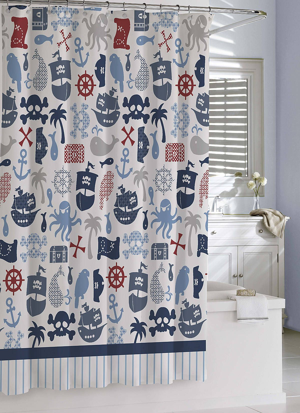 Luxury Shower Curtains Bambini Pirates Shower Curtain By