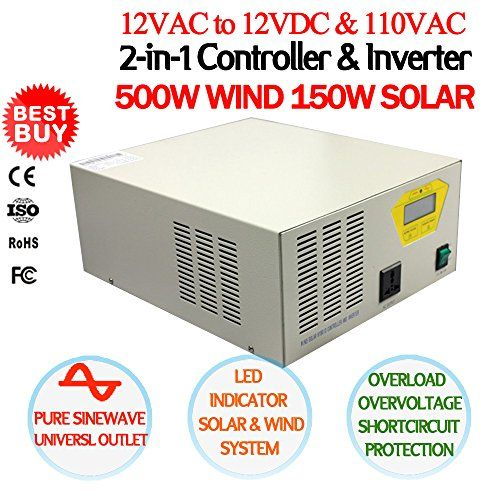NEW 500W 12V24V110V 2in1 Controller  Inverter Device MPPT Charge Controller  Pure Sine Wave Power Inverter For 500W AC Wind Turbine  150W DC Solar Panels Universal Outlet CE Certified BatteryInput Voltage 12V >>> Check out the image by visiting the link. (This is an affiliate link and I receive a commission for the sales) #SolarPanelsForHome