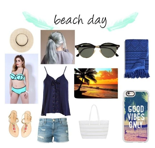 """""""beach day"""" by angyeisnotonfire ❤ liked on Polyvore featuring Sans Souci, Lilly Pulitzer, Ray-Ban, Frame Denim, BUCO, Casetify and Vera Bradley"""