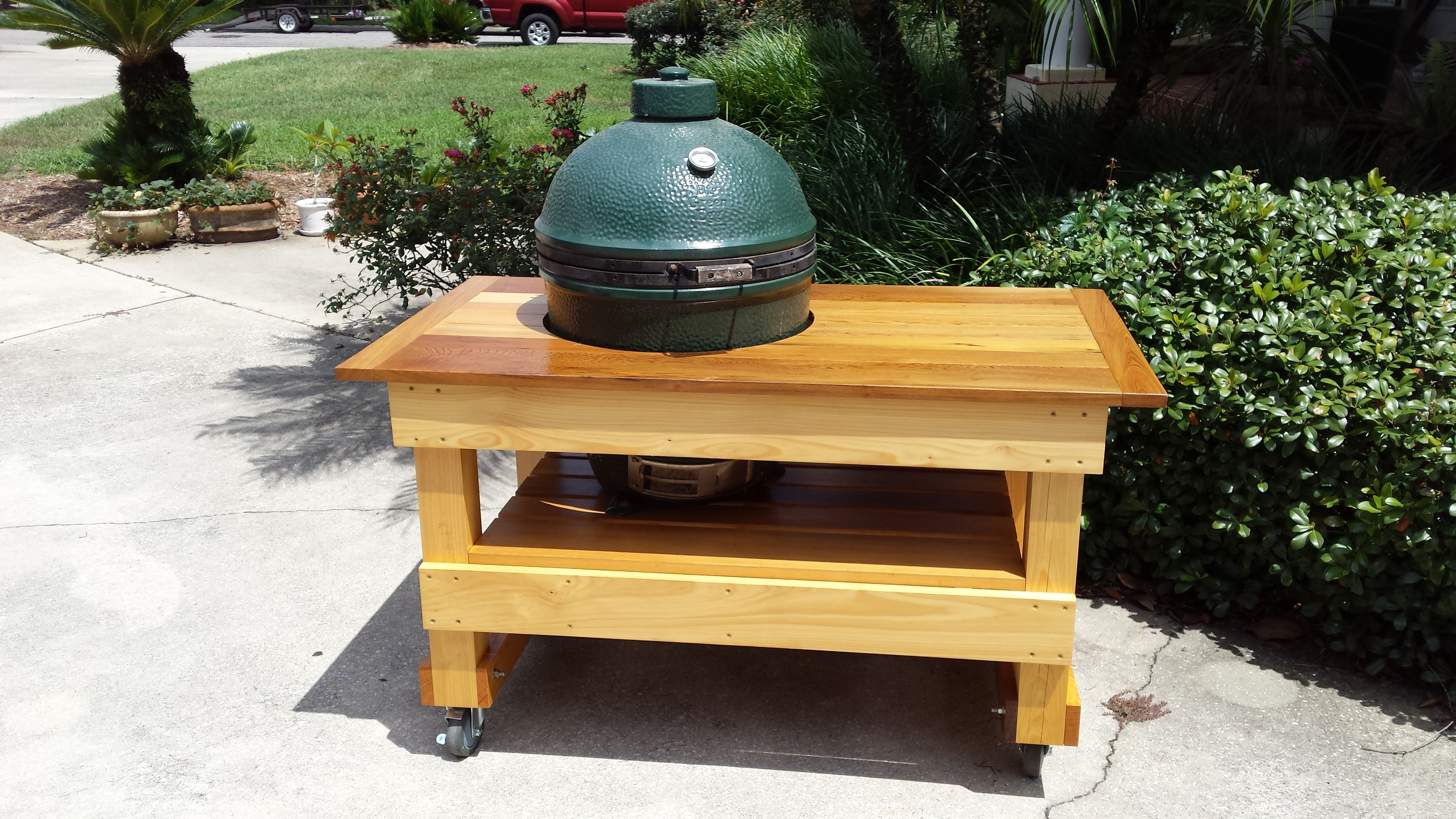 Custom cypress green egg table wood projects wood table