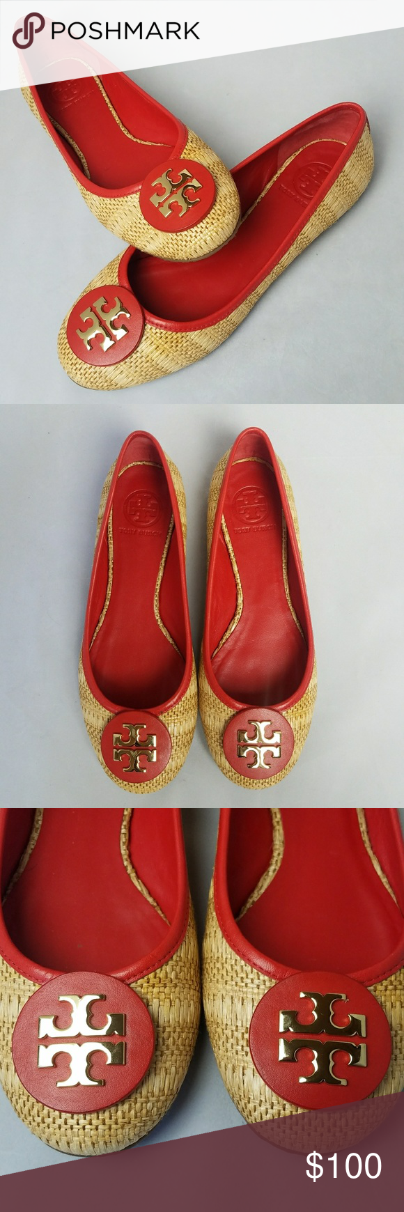 Tory Burch Reva ballet flats straw raffia red 8 Item: Tory Burch Reva straw/natural red leather ballet flats in 8M  -Raffia straw version of the iconic Reva ballet flat. It's Tory Burch's signature shoe, named after Tory's mother, Reva.  -Please note, the red leather has orange undertones.  Condition: Excellent pre-owned condition, minor signs of wear on sole. Otherwise, they look brand new. Tory Burch Shoes Flats & Loafers