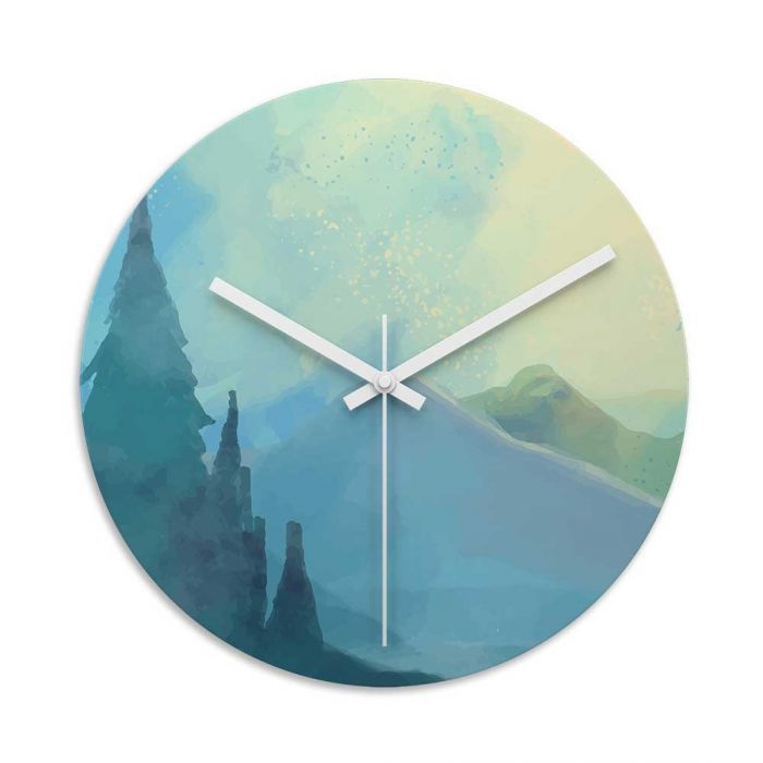 Blue Mountain Mist Glass Wall Art Clock. Toughened Glass Wall Clock Are  Perfect For Homes