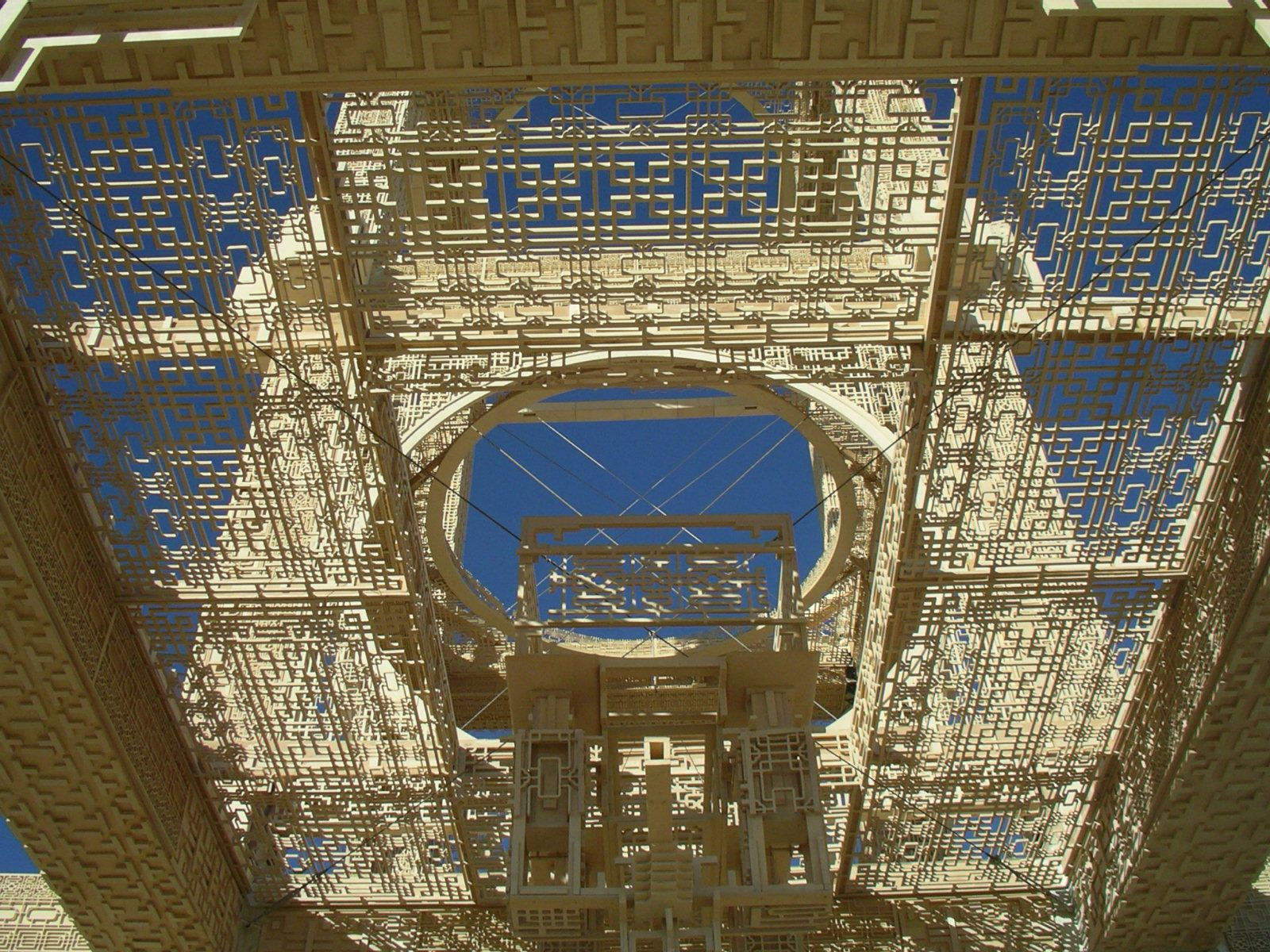 Interior of Temple 2007. Fine wooden lace work. Burning this was the main event on the last night.