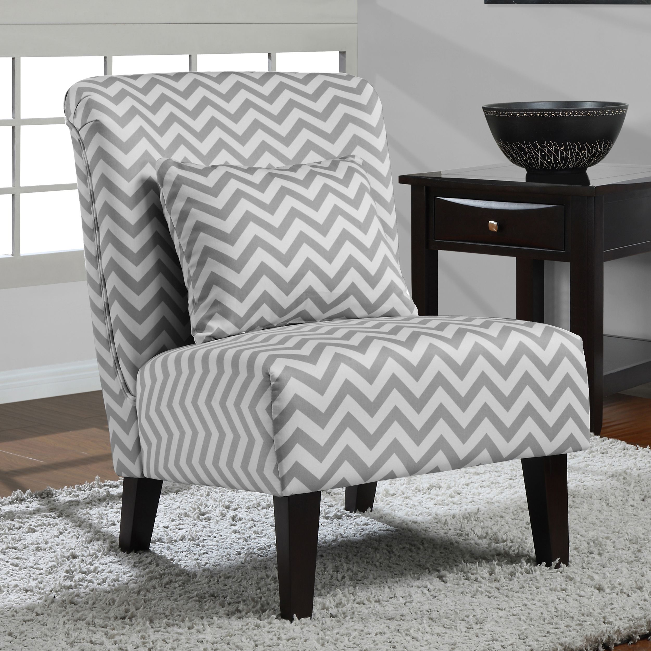 Anna Grey White Chevron Accent Chair by I Love Living