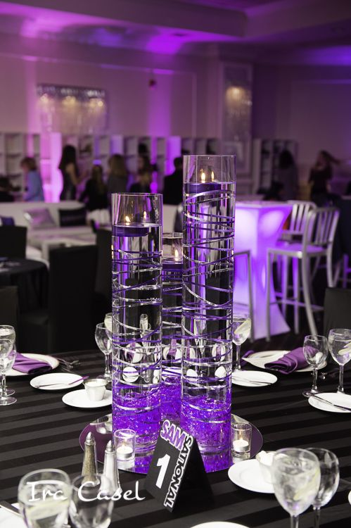3 Vase Centerpiece With Floating Candles Coiled Wire Acrylic