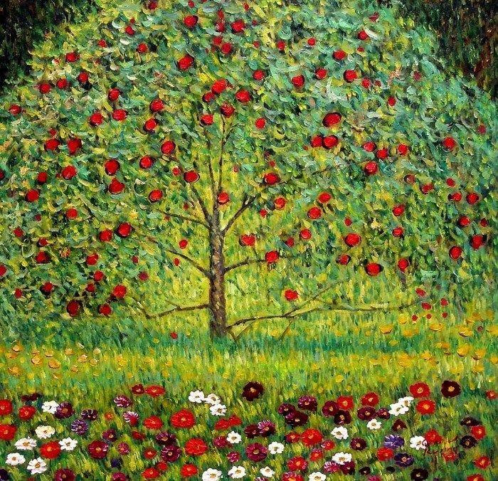 Gustav Klimt Apple Tree Counted Cross Stitch Pattern