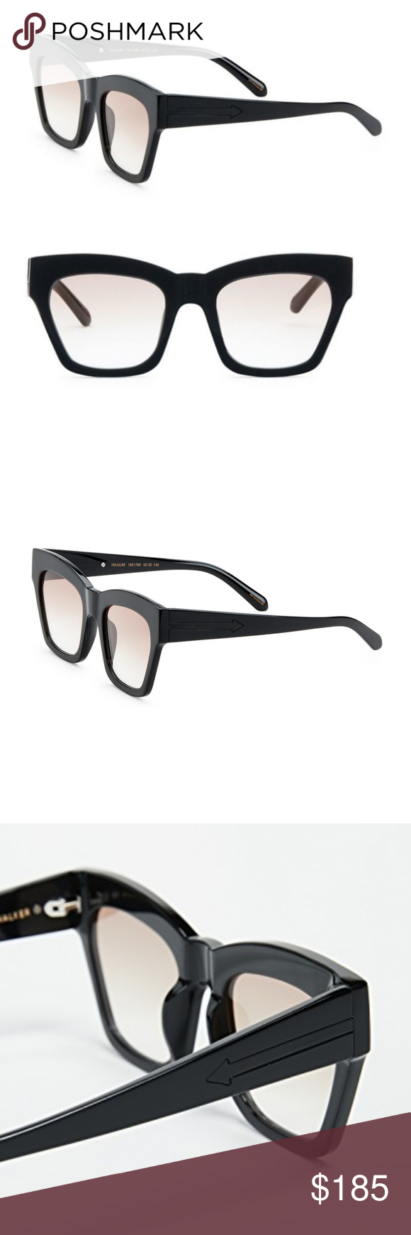 1a8ba605f2 KAREN WALKER TREASURE MODIFIED CAT EYE SUNGLASSES KAREN WALKER TREASURE  MODIFIED CAT EYE SUNGLASSES IN BLACK