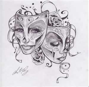 drama mask tattoo - Google Search