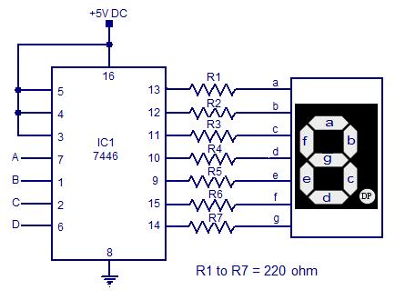 7446 seven segment decoder driver circuit diagram electronic rh pinterest com